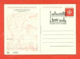 INTERI POSTALI  - SOVRANO ORDINE DI MALTA - S.M.O.M. -  MN 9 - 2000 - FDC - Sovrano Militare Ordine Di Malta