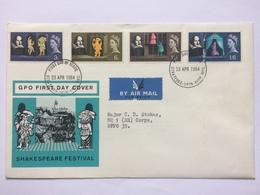 GB 1964 Shakespeare Festival FDC - Stratford Postmark - Air Mail To BFPO 39 - 1952-.... (Elizabeth II)