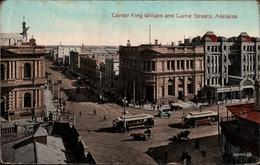 ! Old Postcard Adelaide, King William And Currie Street, Tramways, Straßenbahnen, 1923 - Adelaide