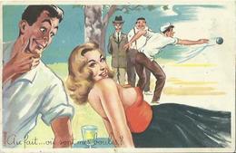 """CPA Fantaisie Humoristique érotique -  """" Au Fait... Où Sont Mes Boules ? """" (Photochrom N° 397) (thème Pétanque). - Humour"""