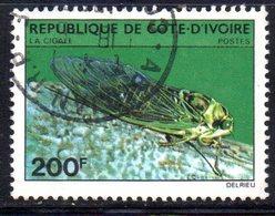 APR2180 - COTE COSTA D'AVORIO 1980 ,  Yvert N. 554  Usato  (2380A)  Insetti Cicale - Costa D'Avorio (1960-...)