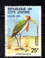 APR2182 - COTE COSTA D'AVORIO 1985 ,  Yvert N. 720A  Usato  (2380A) Leptoptilos - Costa D'Avorio (1960-...)