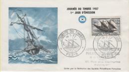 FRANCE-Premier Jour D'émission-Journée Du Timbre 1957-Service Maritime Postal-cachet De Paris Du 16.03.57 - Documenten Van De Post