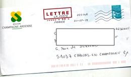 Pap Luquet Flamme Chiffree Entete Region Champagne Ardenne - Entiers Postaux