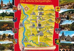 1 Map Of Germany * 1 Ansichtskarte Mit Der Landkarte - Die Schöne Bergstraße * - Landkarten