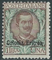 1903 ERITREA FLOREALE 1 LIRA MNH ** - RA32-9 - Eritrea
