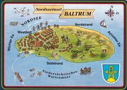 1 Map Of Germany * 1 Ansichtskarte Mit Der Landkarte Der Nordseeinsel Baltrum - Mit Wappen * - Landkarten