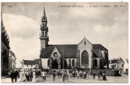CPA 29 - CARANTEC (Finistère) - La Place De L'Eglise (petite Animation) ND Phot - Carantec