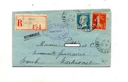 Lettre Recommandée Saint Pierre Eglise Sur Pasteur Semeuse - Postmark Collection (Covers)
