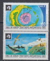 Chile 1991 Antarctic Treaty 2v Se Tenant  ** Mnh (44158) - Chili