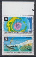 Chile 1991 Antarctic Treaty 2v Se Tenant (+margin) ** Mnh (44158A) - Chili
