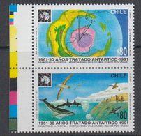 Chile 1991 Antarctic Treaty 2v Se Tenant (+margin) ** Mnh (44158B) - Chili