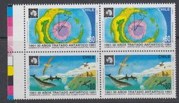 Chile 1991 Antarctic Treaty 2v Se Tenant (pair) ** Mnh (44158E) - Chili