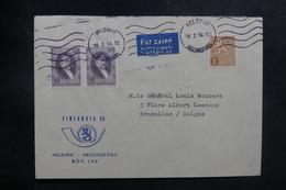 FINLANDE - Enveloppe De Helsinki Pour Bruxelles En 1956 , Affranchissement Plaisant, Vignette Au Verso - L 39182 - Lettres & Documents
