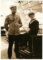 Emperor Nicholas II & Tsesarevich Alexis Yacht Russian Romanov Royalty Postcard - Royal Families