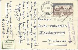 CARTE POSTALE 1959 POUR LA FINLANDE AVEC TIMBRE A 25 FR  CHATEAU DE VALENCAY - Poststempel (Briefe)