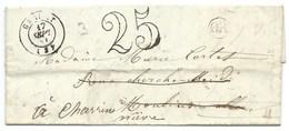 MP GANNAT ALLIER POUR CHARRIN NIEVRE / TAXE 25 DOUBLE TRAIT / 1851 / OR - 1849-1876: Classic Period