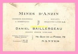 CARTE DE VISITE  De MINES D ANZIN , Daniel BAILLERGEAU, NANTES  ,representant M.ZWINGELSTEIN  , RENNES - Visiting Cards
