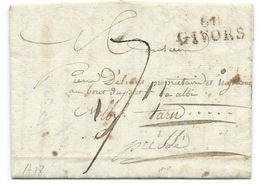 MP GIVORS POUR ALBI / TAXE  / 1826 - Marcophilie (Lettres)