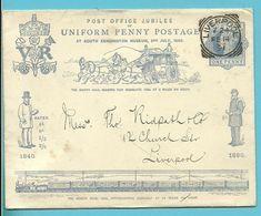 GRANDE BRETAGNE ENTIER POSTAL POST OFFICE JUBILEE UNIFORM PENNY POSTAGE 1890 / LIVERPOOL 1891 - Entiers Postaux