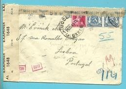 426+528 Op Brief Met Stempel UCCLE  Naar Lisboa (Portugal) Met Duitse En Engelse Censuur - Guerre 40-45