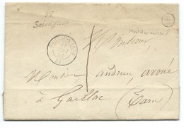 MP GAILLAC SUR TARN POUR GAILLAC / TAXE  / 1851 / CURSIVE SALVAGNAC INDICE 13  / MONTDURAUSSE - Postmark Collection (Covers)