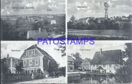 117946 GERMANY GRUSS AUS ZEUNITZ MILL GUEST HOUSE MULTI VIEW DAMAGED POSTAL POSTCARD - Allemagne