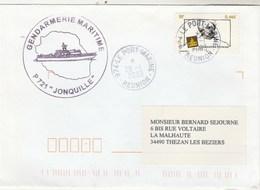 Gendarmerie Maritime Patrouilleur P 721 JONQUILLE Le Port Marine Réunion 28/1/2003 - Enveloppe 1 - Storia Postale