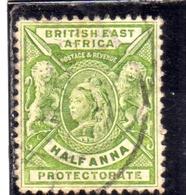 BRITISH EAST AFRICA ORIENTALE BRITANNICA 1896 1903 QUEEN VICTORIA AND BRITISH LIONS HALF ANNA 1/2a USATO USED OBLITERE' - Africa Orientale Britannica