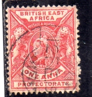 BRITISH EAST AFRICA ORIENTALE BRITANNICA 1896 1903 QUEEN VICTORIA AND BRITISH LIONS ONE ANNA 1a USATO USED OBLITERE' - Africa Orientale Britannica