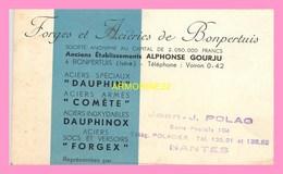 CARTE DE VISITE Des Forges Et Acieries De BONPERTUIS  Representees Par Jean -J.POLAG  Nantes - Autres