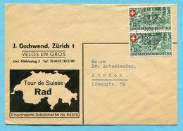 Orts-Brief Zürich - Werbung Tour De Suisse-Rad 1945 - Lettres & Documents