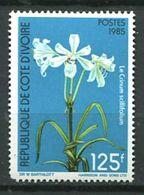 249 COTE IVOIRE 1985 Yvert 726 B - Fleur Crinum Scillifolium (Dent Courte Coin Bas Gauche - Neuf ** (MNH) Sans Charniere - Côte D'Ivoire (1960-...)