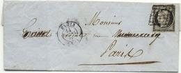 1366) N°3 Sur Lettre De Blois Pour Paris Cachet à Date Type 15 Du 14 Mars 1849 - Marcophilie (Lettres)