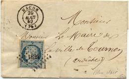 1368) N°4 Bleu Clair Sur Lettre De Macon (76) Pour Tournon Cachet à Date Type 15 Du 20 Mars 1849 - Marcophilie (Lettres)