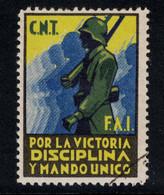 ESPAGNE SPAIN - VIÑETA DE LA GUERRA CIVIL DE CNT FAI POR LA VICTORIA DISCIPLINA Y MANDO UNICO - Vignettes De La Guerre Civile