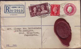 GB - REGISTRATION Cover 4,5 Pence + 1 P + 1,5 P CORONATION - From Bank On Piccadilly London To HVAR - 1937 - 1902-1951 (Kings)
