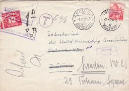 Brief: V. Solothurn über Zürich Nach London Mit Nachporto.( Postage Due, One Penny ) Mit Mi: 327y - Briefe U. Dokumente