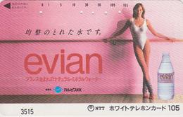 Télécarte Japon / 7-11 - 3515 - Jolie Femme & EAU MINERALE EVIAN FRANCE - Sexy Bikini Girl & Water Adv. Japan Phonecard - Publicité
