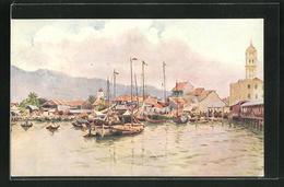 AK Penang, Blick Auf Boote Vor Stadt - Postales