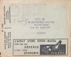 Entier Postal + Enveloppe + Extrait De Compte Ampoule Mazda 1935 Laines Duez - Stamped Stationery