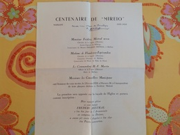 Maillane 1959 Frédéric Mistral Neveu Centenaire De Mireio - Programma's