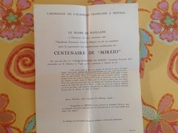 Maillane 1959 Hommage De L'académie Française à Frédéric Mistral  Centenaire De Mireio - Programma's
