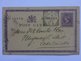 SOUTH AUSTRALIA Pre-paid Postcard 1892 Milang To Adelaide - 1855-1912 South Australia