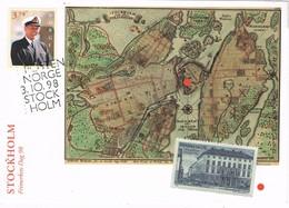 33637. Tarjeta Maxima NORGE, Noruega 1998. Dia Sello STOCKHOLM (Sverige) Map - Tarjetas – Máximo