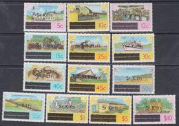 Saint-Christophe N° 424 / 36 XX Série Courante, Les 13 Valeurs Surchargées St Kitts Sans Charnière, TB - St.Christopher-Nevis-Anguilla (...-1980)