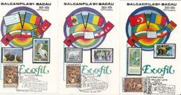 ENVIRONMENT PROTECTION, BACAU PHILATELIC EXHIBITION, NATURE, CM, MAXICARD, CARTES MAXIMUM, 5X, 1991, ROMANIA - Milieubescherming & Klimaat