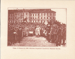 CPA ALBA IULIA- 1918 GREAT UNION, NATIONAL FLAG BLESSING, CROWD, NATIONAL COUNCIL - Roumanie