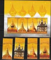 THAILAND ,2019, MNH , RELIGIOUS CELEBRATIONS, BUDDHISM, VESKA, TEMPLES, 4v+ SHEETLET - Buddhismus