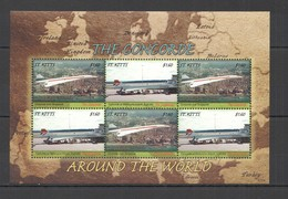 T1050 2007 ST. KITTS TRANSPORT AVIATION CONCORDE AROUND THE WORLD KB MNH - Concorde